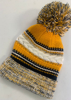Navy Gold Pom Knit Beanie