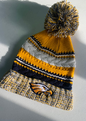 Flyer Embroidery Navy Gold Pom Beanie