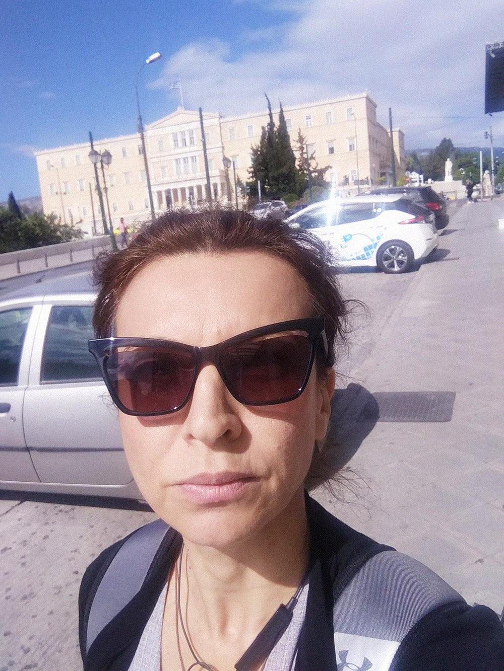 Selfie of designer Eleanna Katsira during Covid-19 in Athens