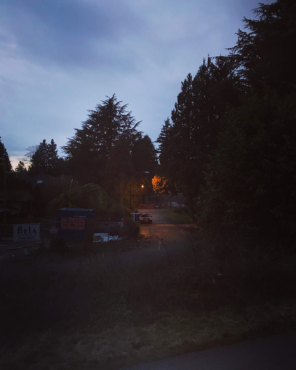 SPITGAN WEBZINE #3, Photo 1, View from Arbutus Street bike path at twilight in Vancouver, BC