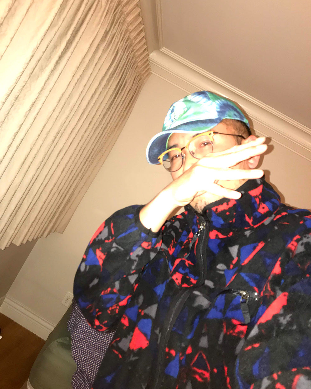 SPITGAN WEBZINE #3 Photo 11. Selfie of Nick D the ninja rockin' a STR3AK Clothing tie dye cap. Vancouver BC