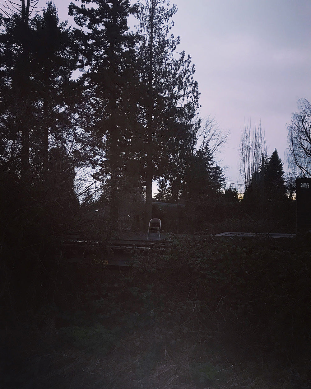 SPITGAN WEBZINE #3 Photo 13. Photo from the Arbutus Street bike path of an abandoned chair on a old wooden garage roof twilight Vancouver, BC. Random weirdness