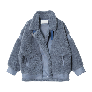 Oversize Wool Solid Colour Jacket (Grey / White)