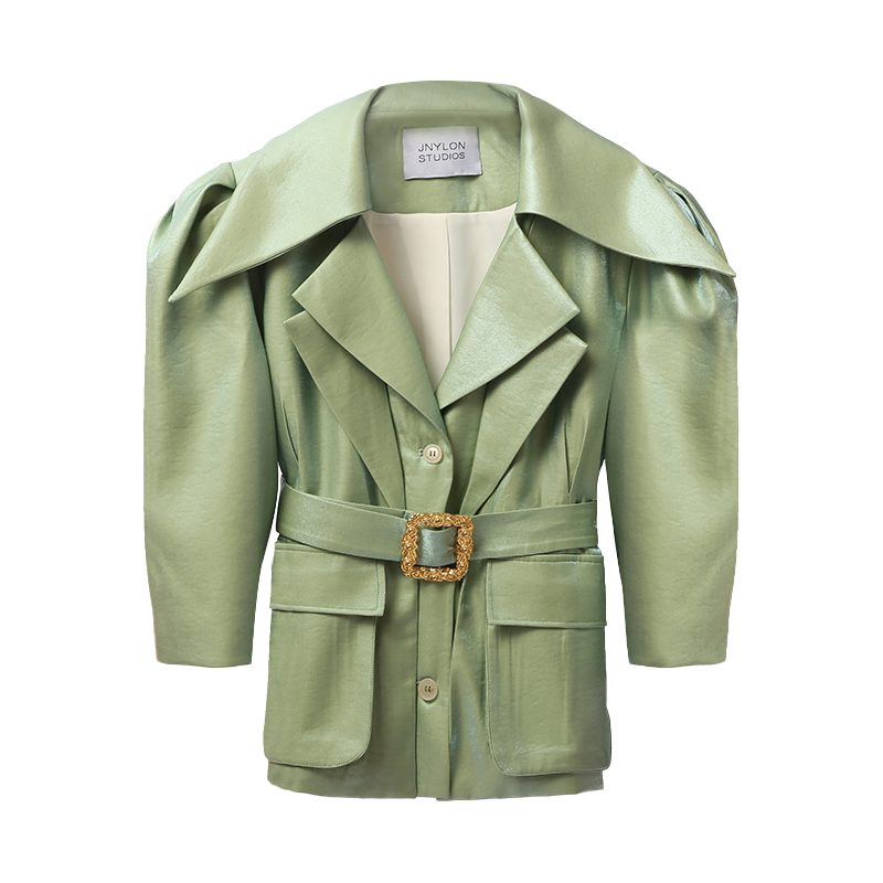 Vintage Style Belted Jacket (Green & White)