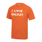 I Love Hockey Dryfit Shirt -  Oranje met Glitter Junior