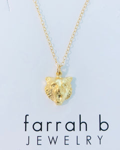 farrah b Gold Tiger Head Charm