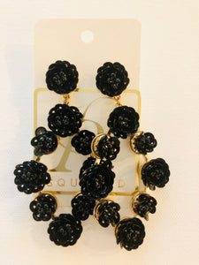GS Black Sequin Flower Earrings