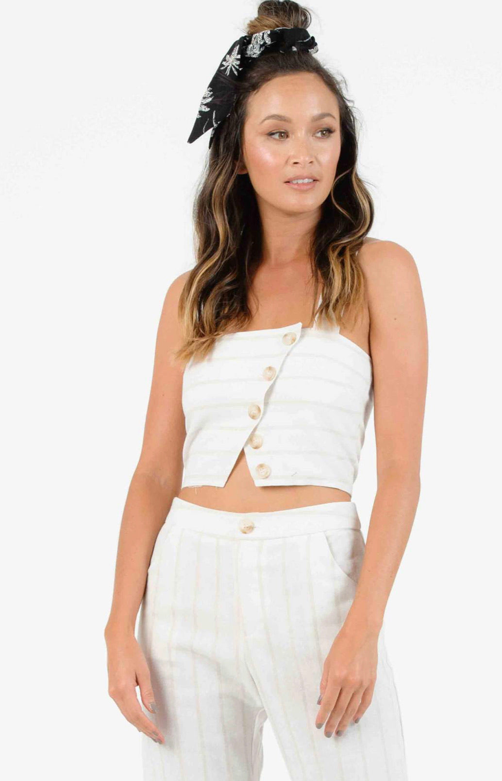 LUCCA Emery Button Crop Cami