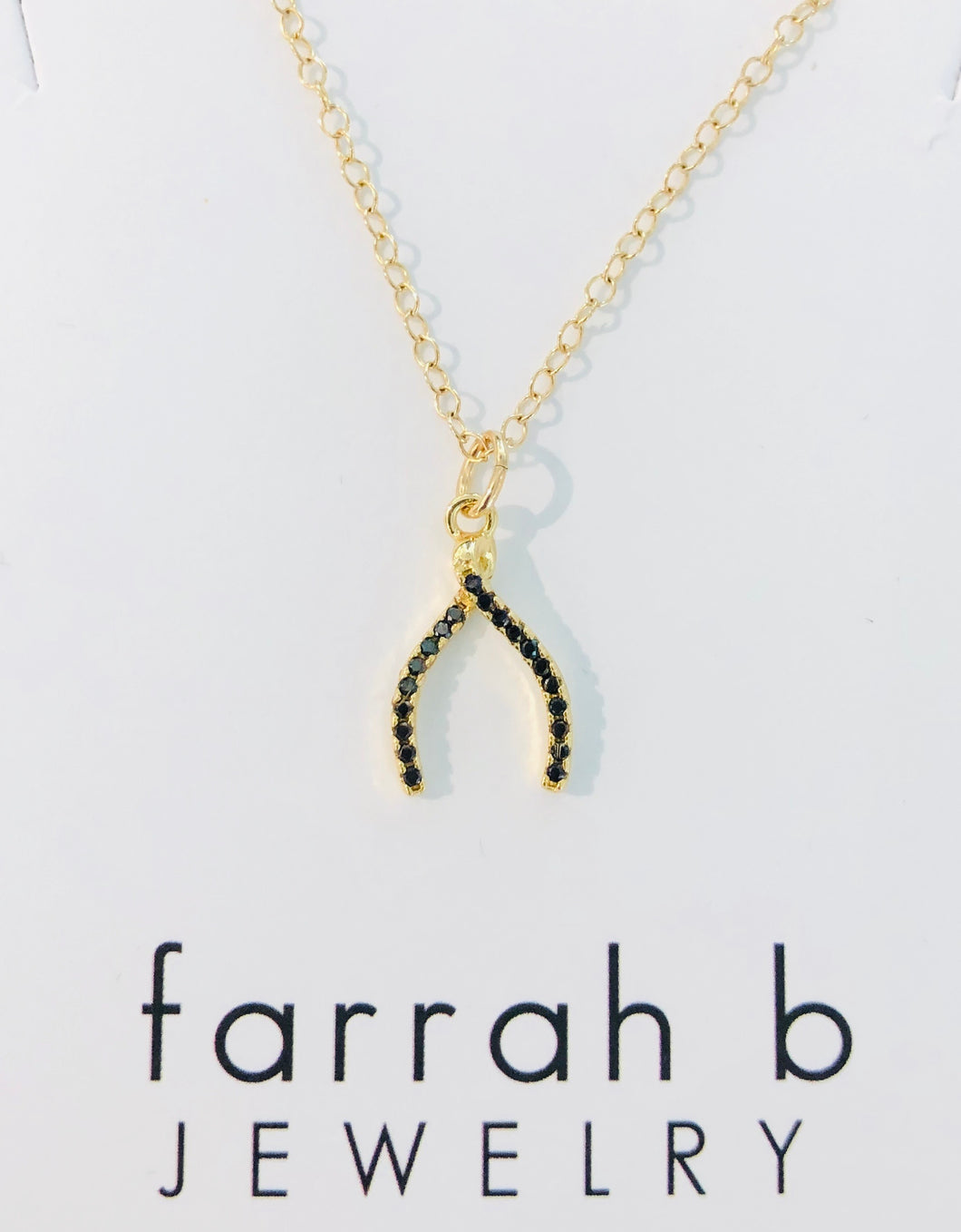farrah b Gold Wishbone Charm with Black Crystals