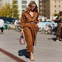 Denim Long Sleeve Belt Jumpsuit