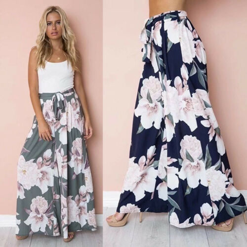 Boho Floral Lace Up Long Trousers