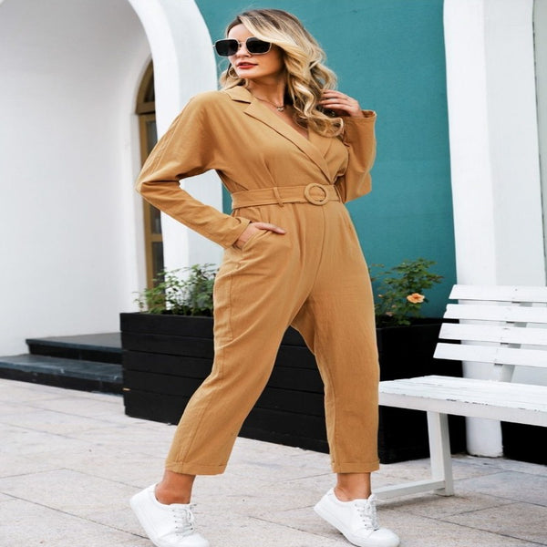 Elegant V-neck Cotton Linen Jumpsuit