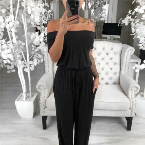 Casual Loose Off Shoulder Short Sleeve Jumpsuit