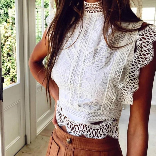 White Lace Crochet Tank Tops