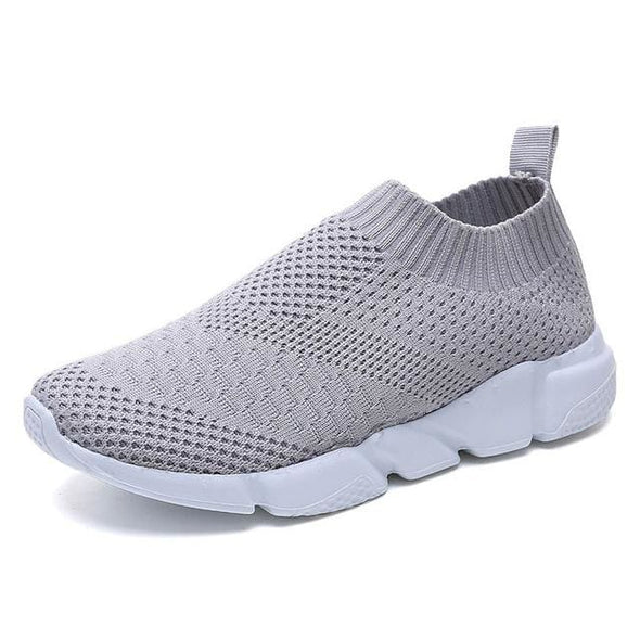Women Shoes 2019 New Flyknit Sneakers Women Breathable Slip On Flat Shoes Soft Bottom White Sneakers Casual Women Flats Krasovki - Gray / 6