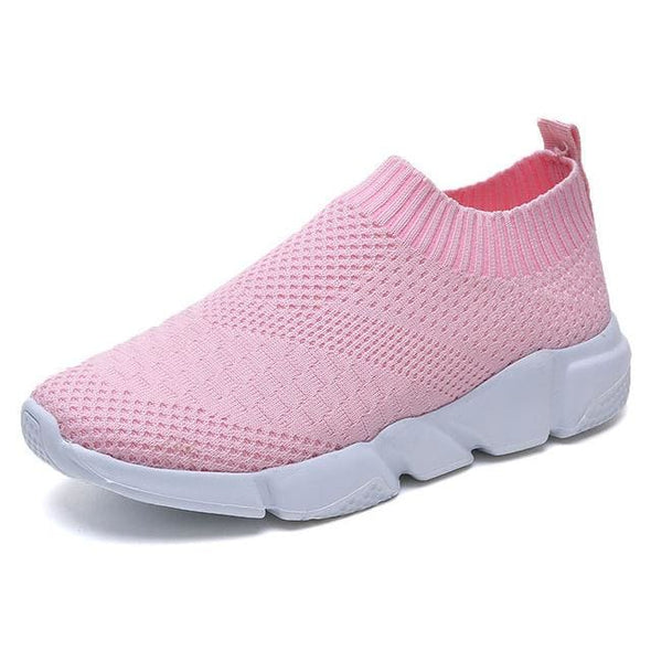 Women Shoes 2019 New Flyknit Sneakers Women Breathable Slip On Flat Shoes Soft Bottom White Sneakers Casual Women Flats Krasovki - Pink / 6