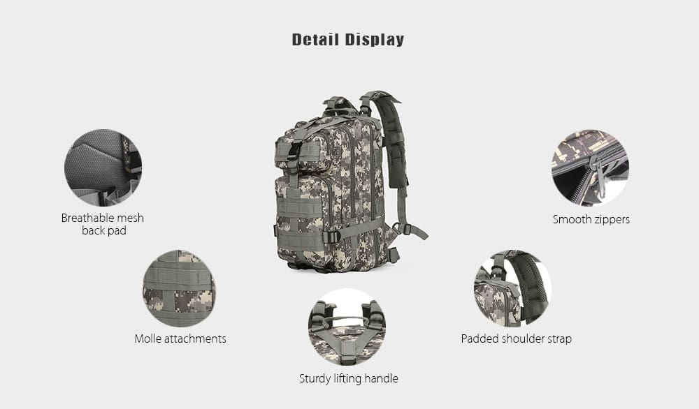 3P 30L Backpack Sports Bag for Camping Traveling Hiking Trekking
