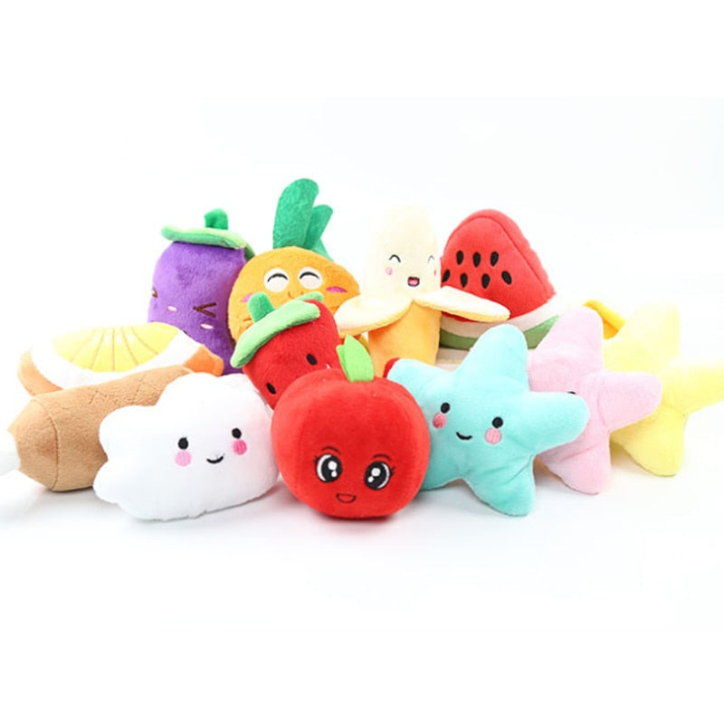 Stuffed Toy Squeaker Squeaky Plush Sound Fruits Vegetables watermelon stars Feeding Carrot Banana | nezzypuppers