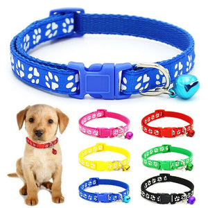 Nylon  with Bell Pet  Cute Fashion Paw  Dog Cat Puppy  Charm Adjustable Lovely Safety Collars 1PC New Buckle | nezzypuppers