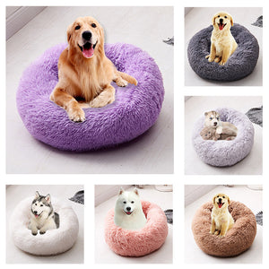 Long Plush Super Soft Pet Bed Kennel Dog Round Cat Winter Warm Sleeping Bag Puppy Cushion Mat Portable Cat Supplies | nezzypuppers