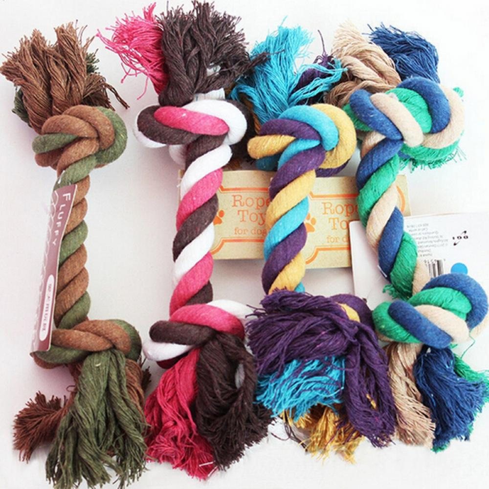 1 pcs Pets dogs pet supplies Pet Dog Teeth Clean Puppy Cotton Chew Knot Toy Durable Braided Bone Rope Funny Tool (Random Color) | nezzypuppers