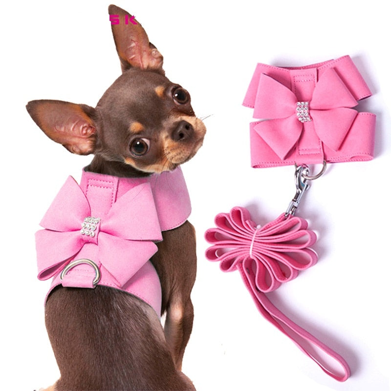 Brand Soft Suede Leather Small Pet Dog Harness for Puppies Chihuahua Yorkie Cute Pet Harness with Leash Bow Rhinestones Hot Sale | nezzypuppers