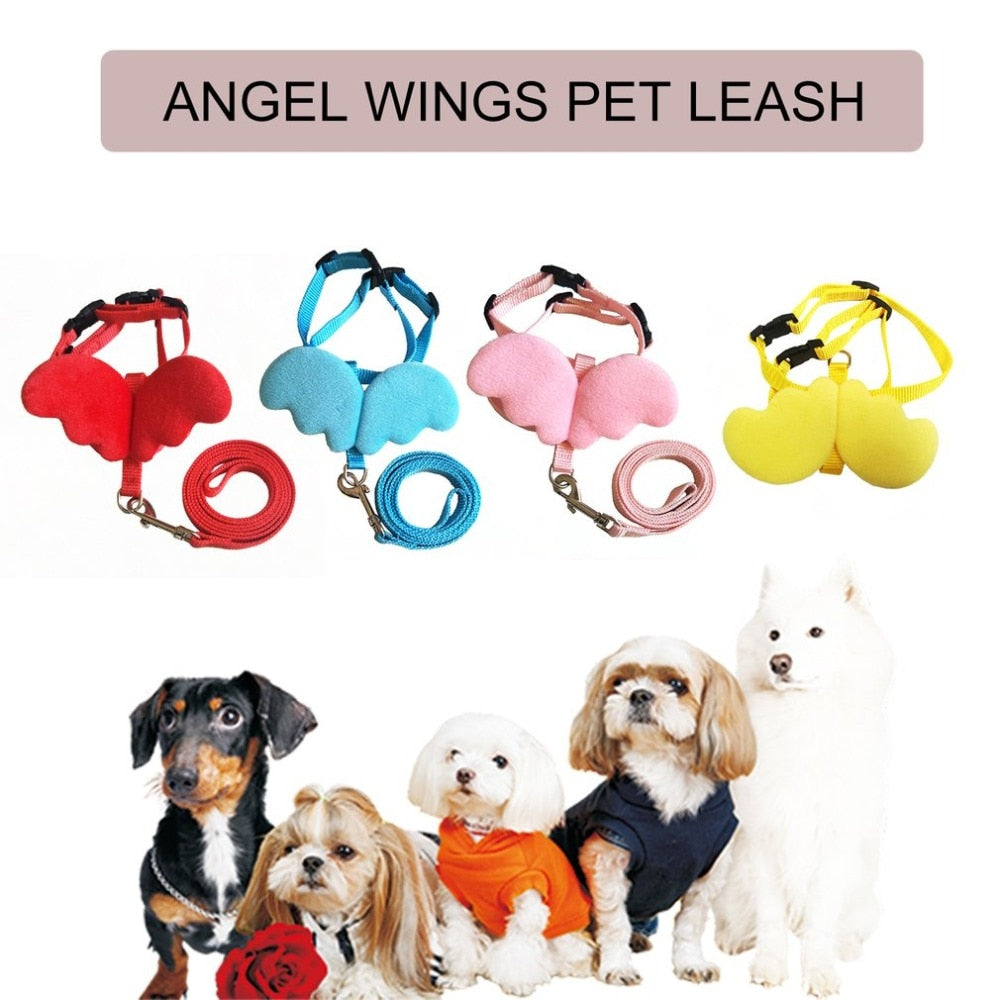 Cute Pet Dog Leashes Collars Set for Small Pet Adjustable Dog Harness with Angel Wings Nylon Strap Pet Accessories | nezzypuppers