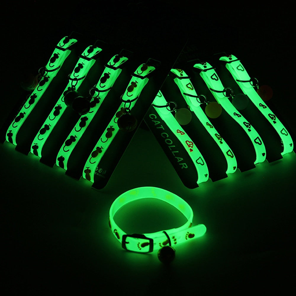 Adjustable Rubber Luminous Pet Puppy Dog Cat Collars With Bells Ball Random Color Collar For Pet In Halloween Xmas Dropshipping | nezzypuppers