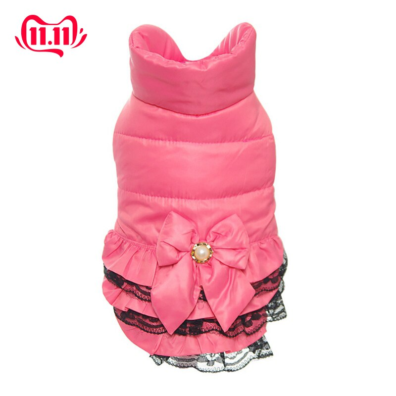 Windproof Pink Pet Dogs Coat Lace Dress Two-legs Costume for Winter Warm Coat Lace Jackets For Small Dog Clothes