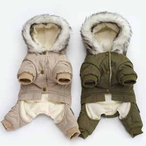 Pet Dog Clothes Winter Warm Dog Green Coat Jumpsuit Thicken Pet Clothing For Yorkshire Teddy Dogs Costume Puppy Clothes Jackets