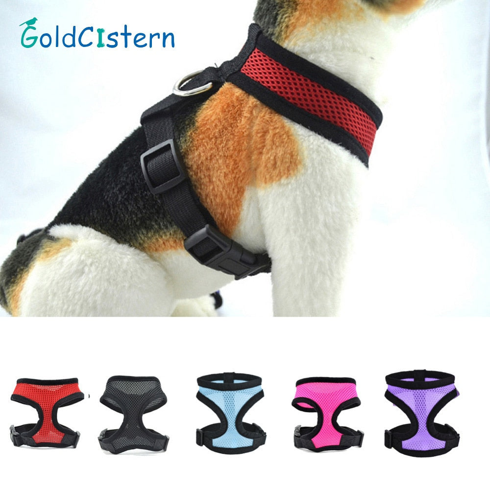 5 Size Adjustable Soft  Pet Dog Puppy Mesh Cloth Harness Pet Accessories Harnesses For Small Medium Dogs Mesh Leash Harness | nezzypuppers