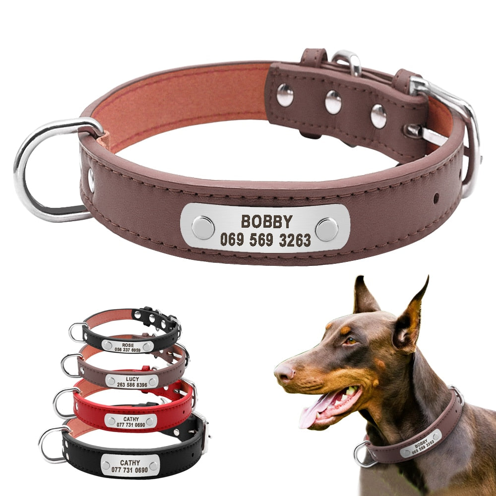 Large Durable Personalized Dog Collar PU Leather Padded Pet ID Collars Customized for Small Medium Large Dogs Cat 4 Size | nezzypuppers