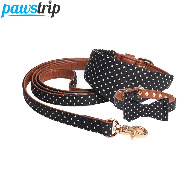 pawstrip 4 Colors Dot Small Dog Collar Bandana Soft Leather Dog Leash Cute Bow Cat Collar Pet Teacup Chihuahua Collar Leash Lead | nezzypuppers
