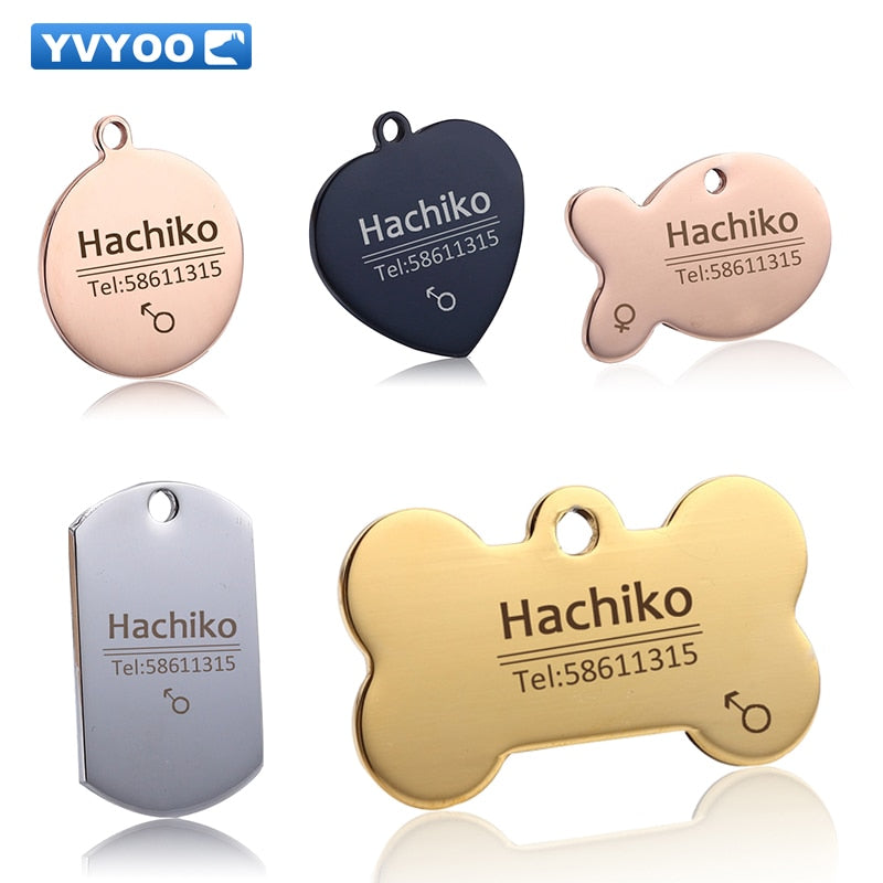 YVYOO Free engraving Pet Dog cat collar accessories Decoration Pet ID Dog Tags Collars stainless steel  cat tag customized tag | nezzypuppers