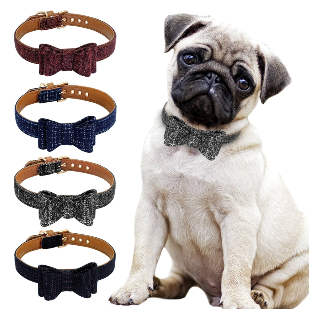 Adjustable Bowknot Pet Dog Cat  Collar Cute Plaid Puppy Kitten Collars Necklace For Small Medium Dogs Cats Chihuahua Pug S M L | nezzypuppers