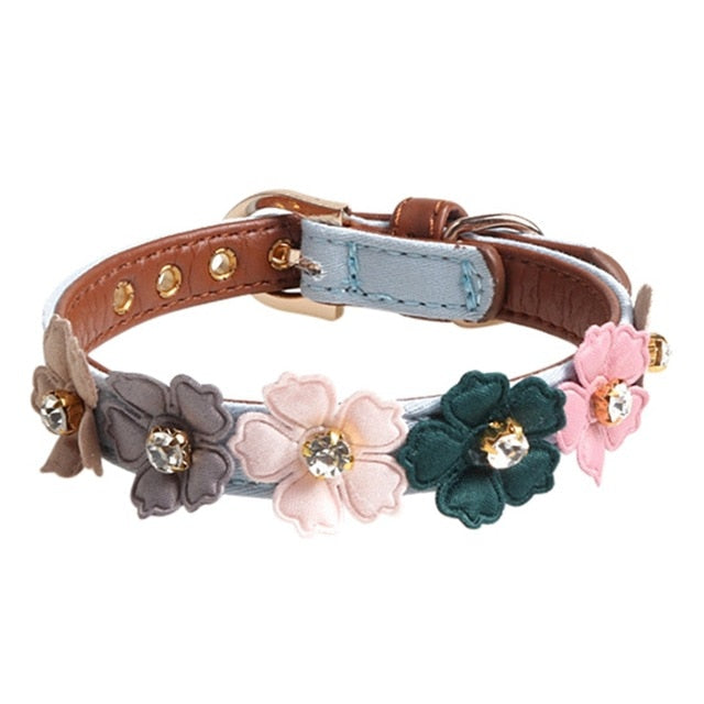 Dog Flower Collar Cute Shiny Diamonds Leather Dogs Necklaces Pet Adjustable Collars For Small Medium Dogs Chihuahua | nezzypuppers