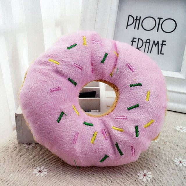 Pink Coffee Color Pet Dog Chew Throw Toys Sightly Lovely Pet Dog Puppy Cat Squeaker Quack Sound Donut Play Toys For Dogs 14cm | nezzypuppers