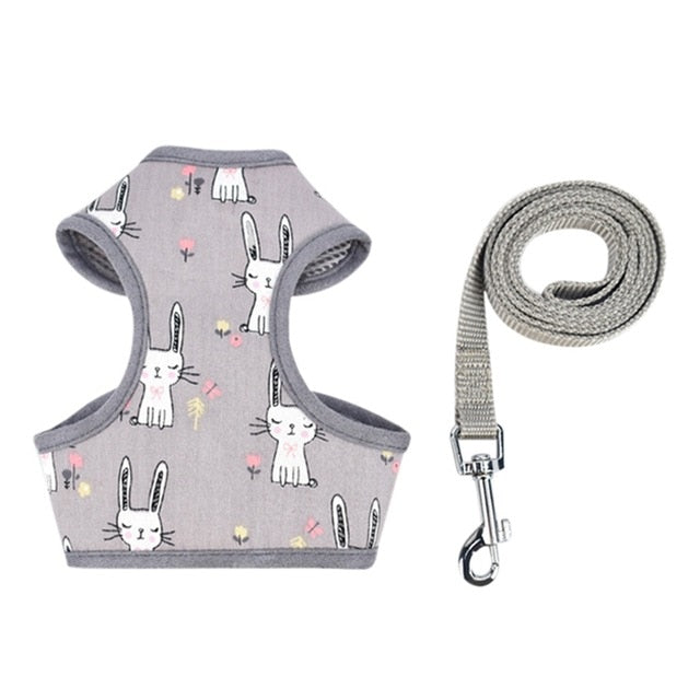 Pet Puppy Dog Cat Adjustable Harness Leash Set with Cute Patten Pet Cotton Vest for Small Medium Dogs Chihuahua Yorkie Teddy | nezzypuppers