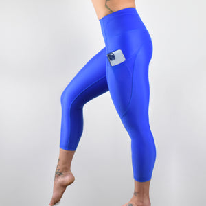 INVIGORATE High Waisted Cropped Running Leggings XL / Baltimora - Blue