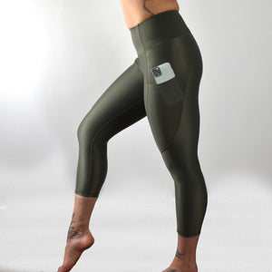 INVIGORATE High Waisted Cropped Running Leggings XL / Tribu - Olive
