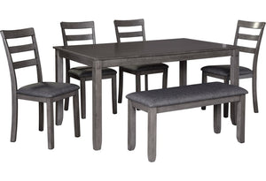 D383 Bridson Dining Room Table and Chairs with Bench (Set of 6)