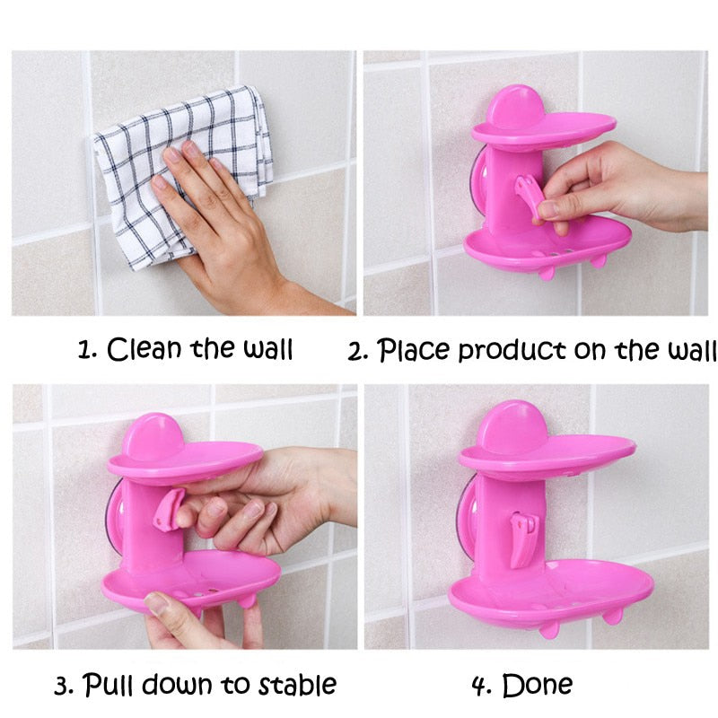 Double layer Bathroom Suction Soap Dish Holder Storage Shelf Soap-Hold-Organizer