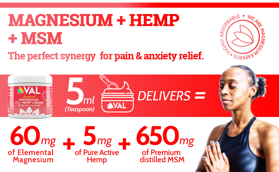 Highly-Absorbable-Transdermal-Magnesium-Chloride-Hemp cream-Relieves Inflammation-Muscle-Joint-Back-Knee-Nerves-Arthritis Pain-Anxiety Relief