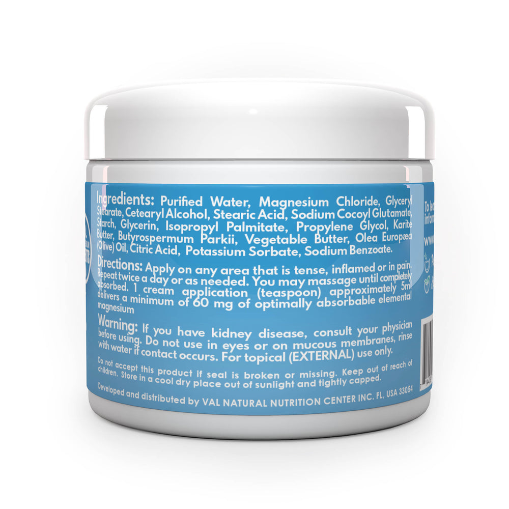 VAL Lombardi Transdermal Magnesium Cream. Natural Pain Relief with Moisturizing Organic Shea Butter