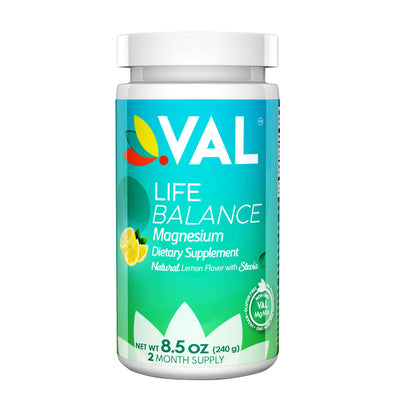 front view of val lifer  magnesium supplement bottle pain relief  in a white background