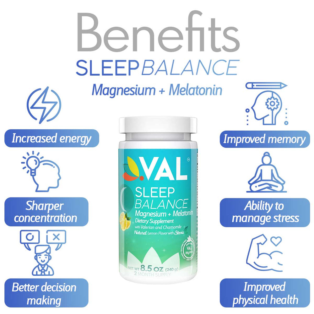 VAL Sleep Balance Magnesium, Melatonin, Valerian, Chamomile, B6, Sleep Aid & Nighttime Cramp Relief