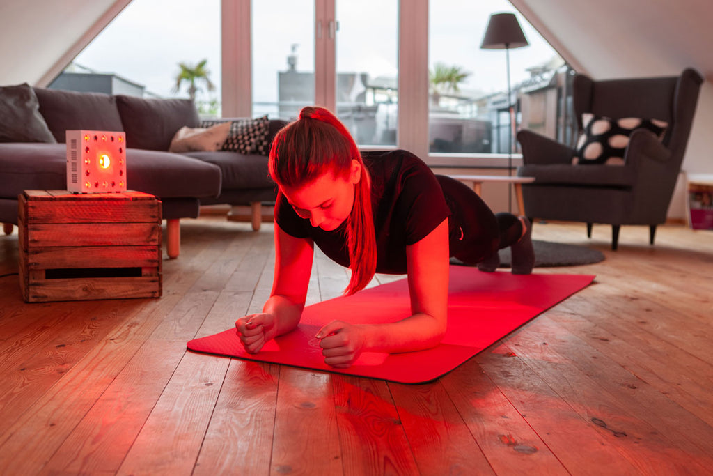 Lichtblock Rotlicht beim Yoga Training