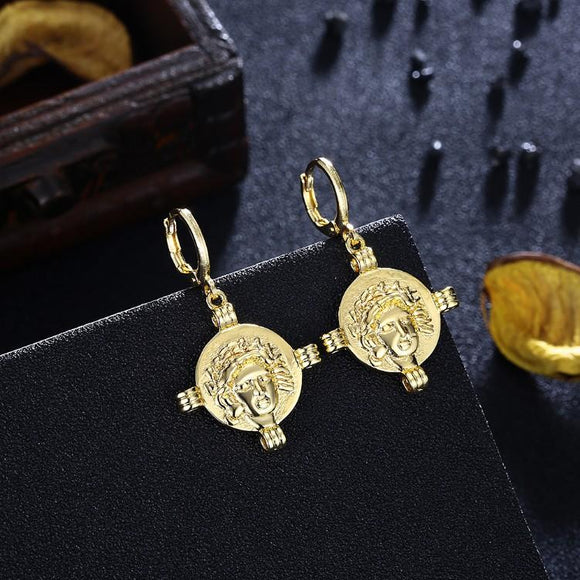 Athens Gold Drop Earrings