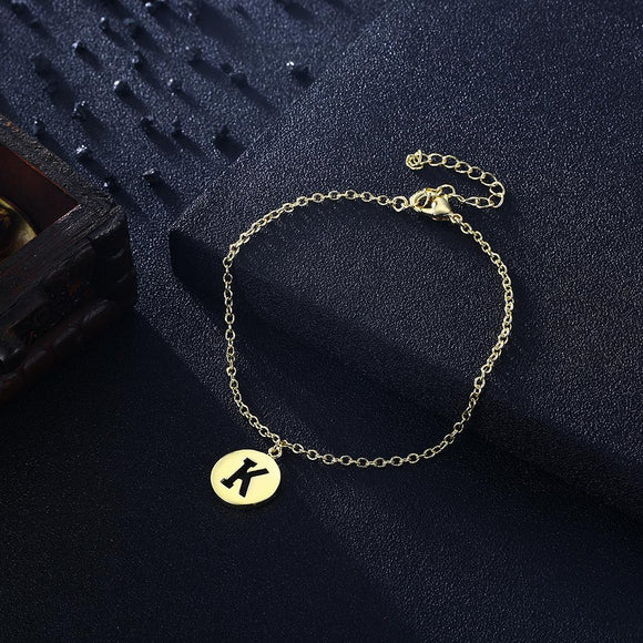 Letter K Bracelet in 18K Gold Plated