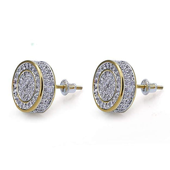 Pave Disc Stud Earring Embellished with Swarovski Crystals in 18K Gold Plated